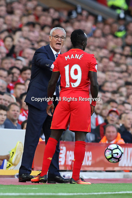 10.09.2016. Anfield, Liverpool, England. Premier League Football. Liverpool versus Leicester. Claudio Ranieri, manager of Leicester City argues to the throw with Sadio Mane of Liverpool