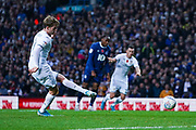 Leeds United forward Patrick Bamford (9) scores a penalty goal to make the score 1-0 during the EFL Sky Bet Championship match between Leeds United and Blackburn Rovers at Elland Road, Leeds, England on 9 November 2019.