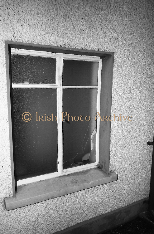 Hibernian Bank sub-office at Dunshaughlin..1965..13.03.1965..03.13.1965..13th March 1965..The Hibernian Bank sub-office at Dunshaughlin, Co. Meath was broken into lat night, it has not yet been determined how much money the raiders managed to escape with...Image shows a the window through which is it is thought the raiders entered the bank's premises.
