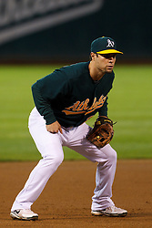 June 28, 2011; Oakland, CA, USA; Oakland Athletics third baseman Scott Sizemore (29) stands at third base against the Florida Marlins during the second inning at the O.co Coliseum.  Oakland defeated Florida 1-0.