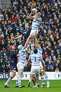 Lineout take by Tomas Lavanini during the Autumn Test match between Scotland and Argentina at Murrayfield, Edinburgh, Scotland on 24 November 2018.