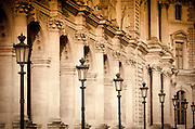 Lamp posts and columns at the Louvre Palace, Louvre Museum, Paris, France