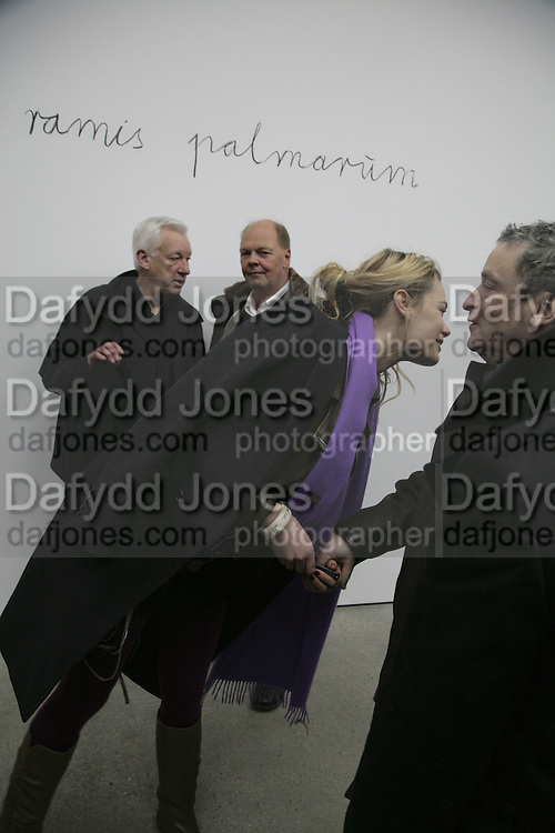 Michael Craig-Martin, Nicholas Logsdail, Isabelle Bscher and Norman Rosenthall, Aperiatur Terra, Private View of work by  Anselm Kiefer<br />White Cube, Mason's Yard. - Afterwards dinner at the  NCP Brewer Street (Top<br />Floor)  London, 25 January 2007. -DO NOT ARCHIVE-© Copyright Photograph by Dafydd Jones. 248 Clapham Rd. London SW9 0PZ. Tel 0207 820 0771. www.dafjones.com.