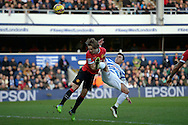 Daley Blind of Manchester United intercepts Eduardo Vargas of QPR .Barclays Premier league match, Queens Park Rangers v Manchester Utd at Loftus Road in London on Saturday 17th Jan 2015. pic by John Patrick Fletcher, Andrew Orchard sports photography.