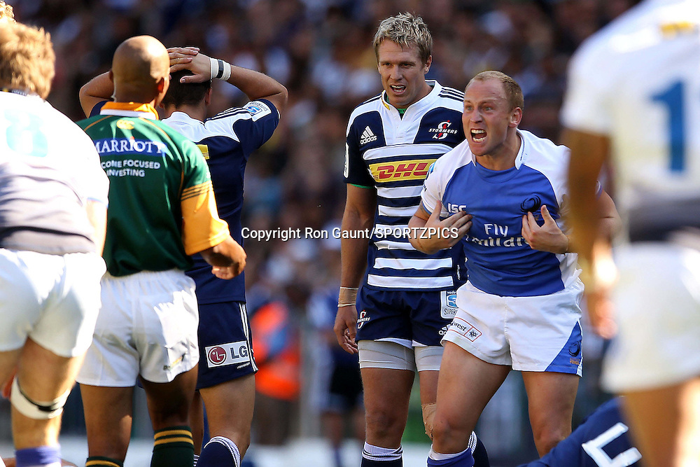 Brett Sheehan of The Western Force pleads with the referee during the Super 15 match between the DHL Stormers and The Western Force held at DHL Newlands Stadium in Cape Town, South Africa on the 26 March 2011..Photo by Ron Gaunt/SPORTZPICS