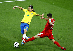June 27, 2018 - Moscow, Russia - Group E Serbia v Brazil - FIFA World Cup Russia 2018.Costa Luis Filipe (Brazil) and Antonio Rukavina (Serbia)  at Spartak Stadium in Moscow, Russia on June 27, 2018. (Credit Image: © Matteo Ciambelli/NurPhoto via ZUMA Press)