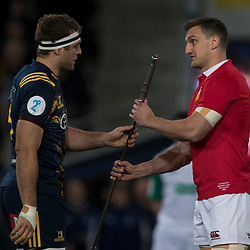 Luke Whitelock presents Claymore to Sam Warburton, during game 4 of the British and Irish Lions 2017 Tour of New Zealand,The match between  Highlanders and British and Irish Lions, Forsyth Barr Stadium, Dunedin, Tuesday 13th June 2017<br /> (Photo by Kevin Booth Steve Haag Sports)<br /> <br /> Images for social media must have consent from Steve Haag