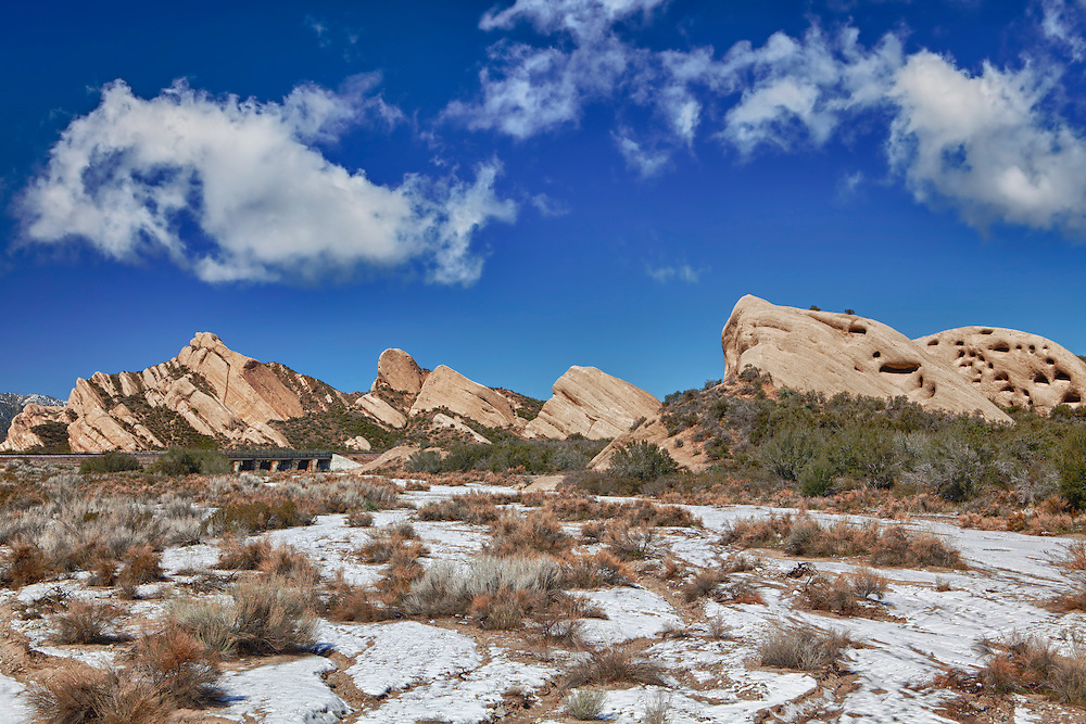 Mormon Rocks - Snow Covered Stream Bed - HDR