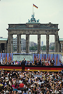 President Ronald Reagan speaks at the Berlin Wall on July 12, 1987 ..Photograph by Dennis Brack bb 27