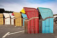 DEU, Germany, Schleswig-Holstein, North Sea,  Amrum island, beach chairs in Nebel.<br /> <br /> DEU, Deutschland, Schleswig-Holstein, Nordseeinsel Amrum, Strandkoerbe in Nebel.