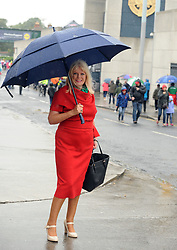 Fine Gael TD Mary Mitchell O'Connor Minister of State for Higher Education showing her support for Mayo at yesterday's All Ireland Semi Final against Kerry at Croke Park.<br />Pic Conor McKeown