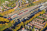 Nederland, Gelderland, Arnhem, 24-10-2013;  rangeerterrein  binnenstad Arnhem met treinen van NS en Arriva. Heijenoord.<br /> Arnhem city with railway yard.<br /> luchtfoto (toeslag op standaard tarieven);<br /> aerial photo (additional fee required);<br /> copyright foto/photo Siebe Swart.