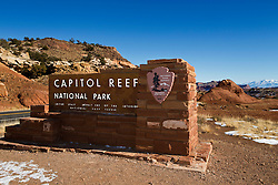 National Park Service welcome sign, Capitol Reef National Park, Utah, United States of America