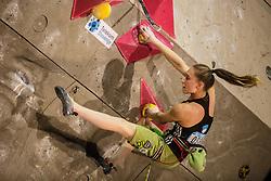 Janja Garnbret (SLO) during women final competition of IFSC Climbing World Cup Kranj 2016, on November 27, 2016 in Arena Zlato Polje, Kranj, Slovenia. (Photo By Grega Valancic / Sportida.com)