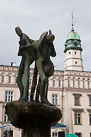 Fountain sculpture and Ethnographic Museum on Plac Wolnica in Kazimierz in Krakow Poland