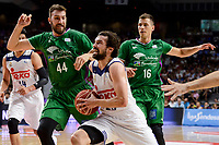 Real Madrid's Sergio Llull and Unicaja Malaga's Dejan Musli and Nemanja Nedovic during semi finals of playoff Liga Endesa match between Real Madrid and Unicaja Malaga at Wizink Center in Madrid, June 02, 2017. Spain.<br /> (ALTERPHOTOS/BorjaB.Hojas)