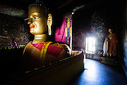 Statue of Buddha in the Monastery of Shey. Pictures from Shey, Ladakh. Shey was the ancient capital of Ladakh, a Himalayan desert region in the North of India