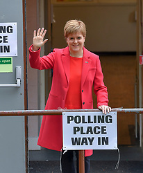 SNP leader Nicola Sturgeon at her local polling station in Glasgow after casting her vote in the European elections.<br /> <br /> © Dave Johnston / EEm
