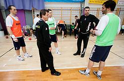 Peter Pucelj, Bojan Cotar, Luka Zvizej, Boris Denic, head coach and David Spiler during practice session of Slovenian Handball Men National Team, on January 11, 2011, in Zrece, Slovenia. (Photo by Vid Ponikvar / Sportida)