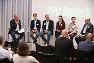 "PPD Biotech and Endpoints News panel ""Finance Forward: Biotech's Opportunity-Rich Financing Landscape"" at ArtScience Cafe, Tuesday, July 18, 2018. Photo by Christine Hochkeppel"