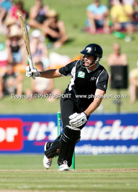 Jacob Oram plays a shot. New Zealand Black Caps v Bangladesh. 1st ODI. McLean Park, Napier. Friday 05 February 2010  Photo: John Cowpland/PHOTOSPORT