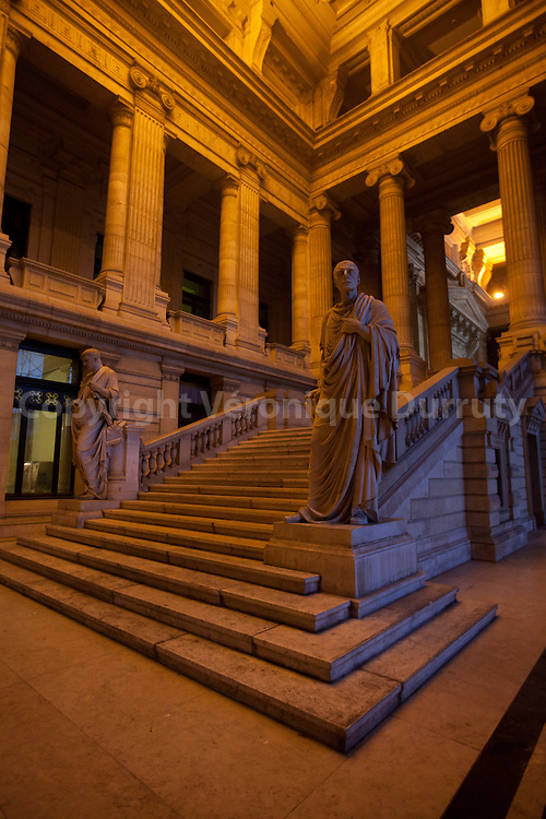 The Law Courts of Brussels or Brussels Palace of Justice (French: Palais de Justice, Dutch:  Justitiepaleis) is the most important Court building in Belgium, and is a notable landmark of Brussels. It was built between 1866 and 1883 in the eclectic style by architect Joseph Poelaert. The total cost of the construction, land and furnishings was somewhere in the region of 45 million Belgian francs. It is the biggest building constructed in the 19th century.