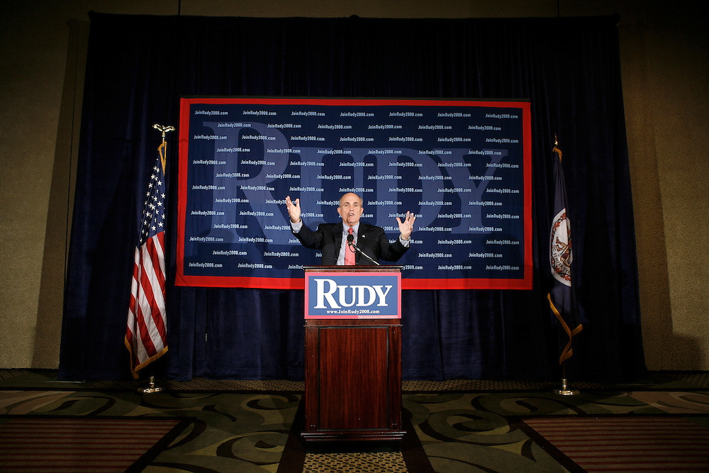 Former New York Mayor Rudy Giuliani speaks at a press conference at the Hyatt Hotel in Reston, Virginia, USA on 20 September 2007. Giuliani took questions on Hillary Clinton and other topics.
