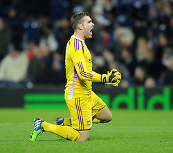 West Ham's Adrian celebrates West Ham's James Tomkins' goal - Photo mandatory by-line: Dougie Allward/JMP - Mobile: 07966 386802 - 02/12/2014 - SPORT - Football - West Bromwich - The Hawthorns - West Bromwich Albion v West Ham United - Barclays Premier League