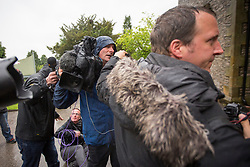 © Licensed to London News Pictures. 08/06/2017. Kendal UK. A fight breaks out between the Media as Liberal Democrat leader Tim Farron casts his vote this morning at the Stonecross Manor Hotel in Kendal in his Westmorland & Lonsdale constituency. Photo credit: Andrew McCaren/LNP
