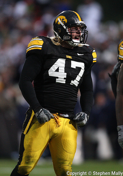 08 NOVEMBER 2008: Iowa defensive lineman Mitch King (47) fires up the defense in the second half of an NCAA college football game against Penn State, at Kinnick Stadium in Iowa City, Iowa on Saturday Nov. 8, 2008. Iowa beat Penn State 24-23.