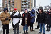 Leo (last name not given) speaks about the not guilty verdict in the Colten Boushie case at a prayer vigil near Jackson Park in Windsor, Ontario, Canada.