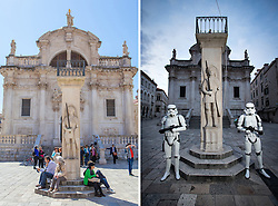 08.03.2016, Dubrovnik, CRO, Star Wars: Episode VIII, Drehort Dubrovnik, im Bild oberes Foto: Touristen in der Stadt - unteres Foto: Mitglieder der MOS Croatia Spaceport als Darth Vader und Sturmtruppen verkleidet in der Altstadt wo die Dreharbeiten zu Star Wars Episode VIII am 8. Mearz beginnen sollen und neune Tage andauern. // Tourists sitting by the Orlando Column, Right photo: 27.02.2016, Croatia, Dubrovnik - Members of the association of fans of Star Wars - Mos Croatia Spaceport dressed as a Stormtrooper and Darth Vader walked the old town where everything is ready to start filming Star Wars: Episode VIII. Filming will began on March 8 and will last for nine days.The set of the new Star Wars film is to be protected by drones to stop fans using their own flying gadgets to get a sneak peek of Episode VIII. Dubrovnik, Croatia on 2016/03/08. EXPA Pictures © 2016, PhotoCredit: EXPA/ Pixsell/ PIXSELL<br /> <br /> *****ATTENTION - for AUT, SLO, SUI, SWE, ITA, FRA only*****