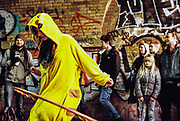 Person dressed as Pikachu at the Freedom to Party protest in Shoreditch, London, January 2016
