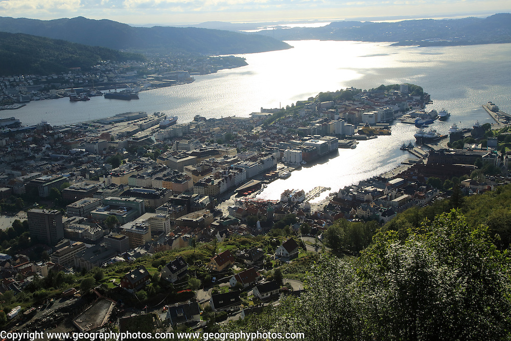 View over the city centre of Bergen from Mount Fløyen, Norway