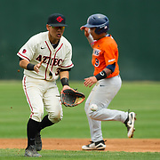 15 April 2018: San Diego State infielder Jacob Maekawa (3) fields a ground ball up the middle in the first inning against Fullerton. The San Diego State baseball team closed out the weekend series against Cal State Fullerton with a 9-6 win at Tony Gwynn Stadium. <br /> More game action at sdsuaztecphotos.com