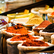 Various spices on sale at the Spice Bazaar (also known as the Egyption Bazaar) in Istanbul, Turkey.