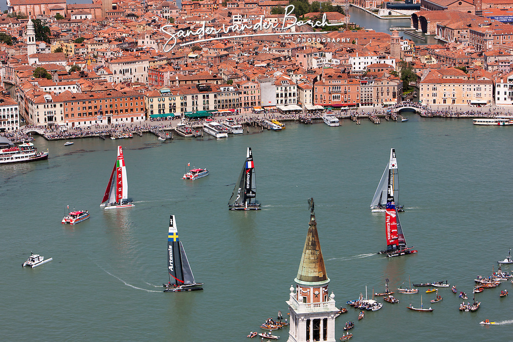 Third day of Racing, including the semi-finals match racing. Artemis Racing wins the last fleet arc de of the day en beats Team Energy in the semi final match racing Saturday, May 19th 2012, AC45 World Series Venice.