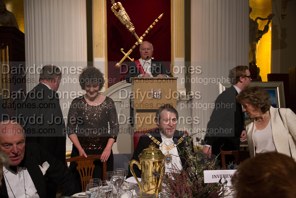 MRS. KATE MAVOR; THE LORD MAYOR OF LONDON; ABOVE; TOASMASTER JOHN HOLLINGWORTH, The National Trust for Scotland Mansion House Dinner. Mansion House, London. 16 October 2013