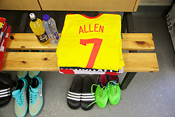BRUSSELS, BELGIUM - Sunday, November 16, 2014: Wales' Joe Allen shirt and boots in the dressing room before the UEFA Euro 2016 Qualifying Group B game against Belgium at the King Baudouin [Heysel] Stadium. (Pic by David Rawcliffe/Propaganda)