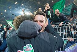 05.02.2019, Signal Iduna Park, Dortmund, GER, DFB Pokal, Borussia Dortmund vs SV Werder Bremen, Achtelfinale, im Bild Jiri Pavlenka (SV Werder Bremen #1) wird umlagert von seinen Mitspielern, hier mit Milos Veljkovic / Miloš Veljković (SV Werder Bremen #13), nach seinen zwei Paraden im Elfmeterschießen // during the German Pokal round of 16 match between Borussia Dortmund and SV Werder Bremen at the Signal Iduna Park in Dortmund, Germany on 2019/02/05. EXPA Pictures © 2019, PhotoCredit: EXPA/ Andreas Gumz<br /> <br /> *****ATTENTION - OUT of GER*****