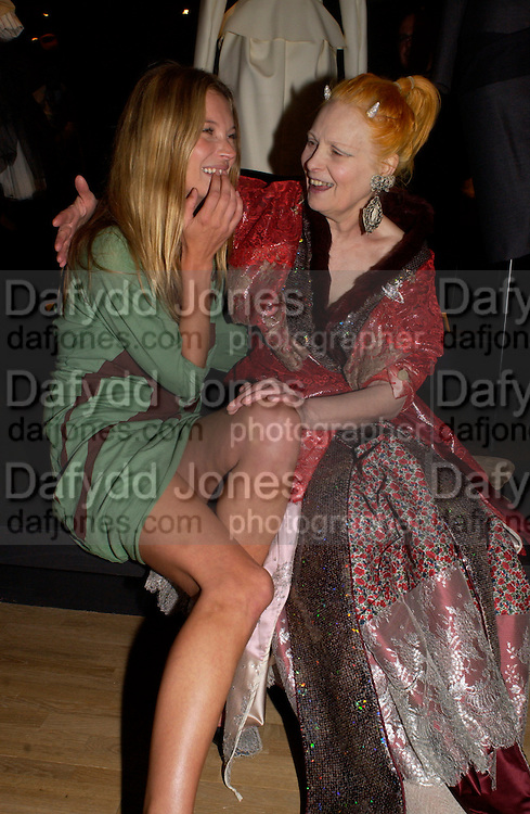 Kate Moss and Vivienne Westwood, Opening of Vivienne Weatwood exhibition. V. & A. 30 March 2004. ONE TIME USE ONLY - DO NOT ARCHIVE  © Copyright Photograph by Dafydd Jones 66 Stockwell Park Rd. London SW9 0DA Tel 020 7733 0108 www.dafjones.com