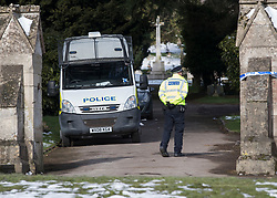 © Licensed to London News Pictures. 20/03/2018. Salisbury, UK. Police remain on duty at the cemetery in Salisbury. Former Russian spy Sergei Skripal, his daughter Yulia are still critically ill after being poisoned with nerve agent. The couple where found unconscious on bench in Salisbury shopping centre. Authorities continue to investigate. Photo credit: Peter Macdiarmid/LNP