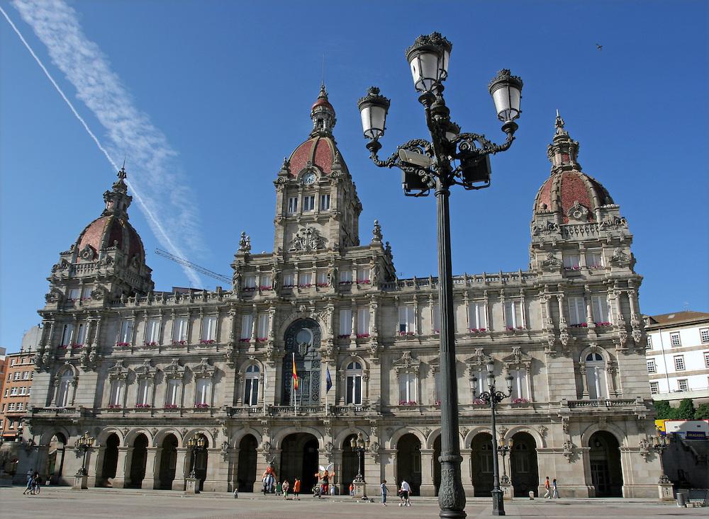 Townhall at Maria Pita Square. La Coru&ntilde;a (Galicia - Spain).<br /> Ayuntamiento de A Coru&ntilde;a en la Plaza de Mar&iacute;a Pita.