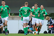 Troy Parrot of Republic of Ireland (10) is congratulated by his team mates after scoring during the UEFA European Under 17 Championship 2018 match between Bosnia and Republic of Ireland at Stadion Bilino Polje, Zenica, Bosnia and Herzegovina on 11 May 2018. Picture by Mick Haynes.