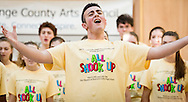 "Town of Wallkill, New York - A Warwick High School student sings a song from ""All Shook Up"" during the Orange County Arts Council's All-County High School Musical Showcase and Arts Display at the Galleria at Crystal Run on Feb. 27, 2016."