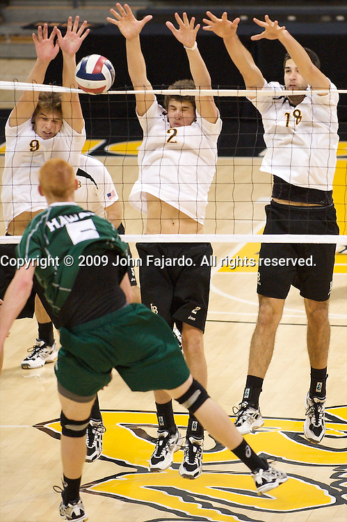 Hawaii's Steven Hunt tries to hit between the block of  Josh Riley(9), Jim Baughman(2) and Dean Bittner(18) in the match against Long Beach State at the Walter Pyramid, Long Beach CA, Thursday, February 12, 2009.  Long Beach State wins in three sets, 30-23, 31-29, 30-28.