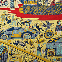 """VENICE, ITALY - JUNE 16:  Details of """"The Wolthamstow Tapestry 2009"""" a 15mt long tapestry by Grayson Perry on June 16, 2011 in Venice, Italy.Penelope's Labour: Weaving Words and Images, is an exhibition of antique and contemporary tapestries and carpets, curated by Adam Lowe and Jerry Brotton and will stay open until September 18."""