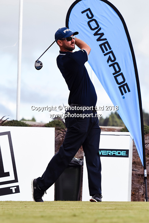 Pieter Zwart (NZL) tees off on the 1st hole.<br /> NZ Rebel Sports Masters, Wainui Golf Club, Wainui, Auckland, New Zealand. 14 January 2018. &copy; Copyright Image: Marc Shannon / www.photosport.nz.