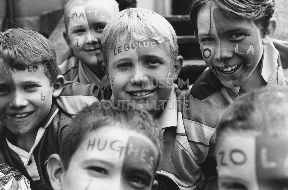 Kids with Chelsea FC face paint, Wembley, London 2000