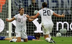 17-07-2011 VOETBAL: FIFA WOMENS WORLDCUP 2011 FINAL JAPAN - USA: FRANKFURT<br /> Torjubel Alex Morgan und Abby Wambach (beide USA) nach dem 0:1 durch Alex Morgan <br /> ***NETHERLANDS ONLY***<br /> ©2011-FRH- NPH/Hessland